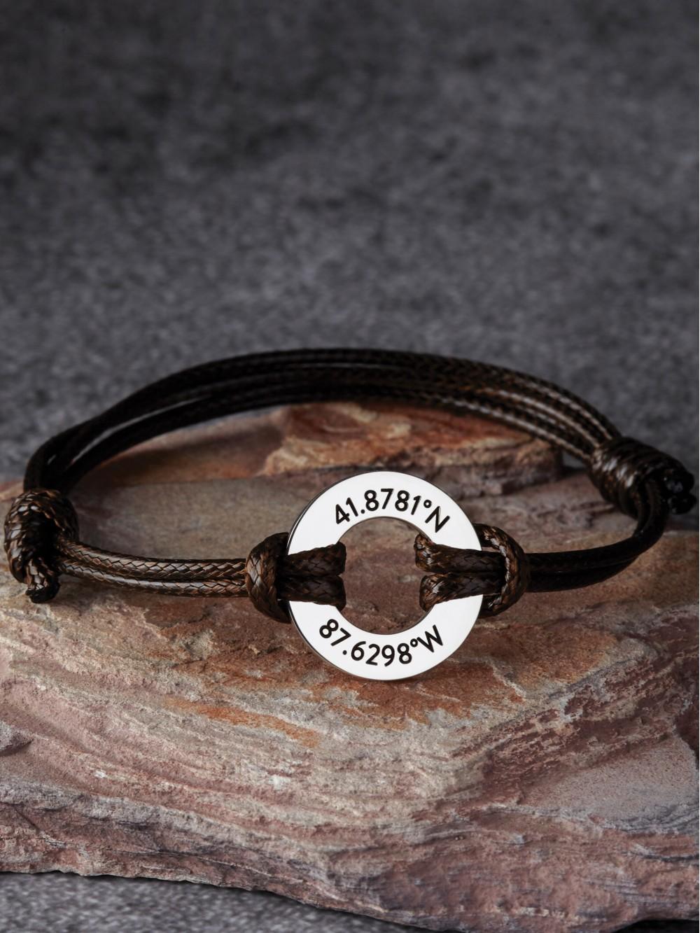 Coordinate Bracelet for Him