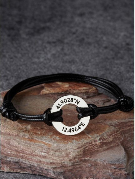 Custom Coordinates Bracelet - Small Washer