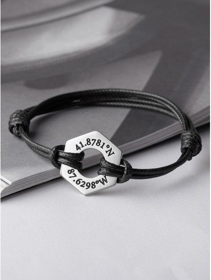 Longitude And Latitude Bracelet - Hexagon Washer