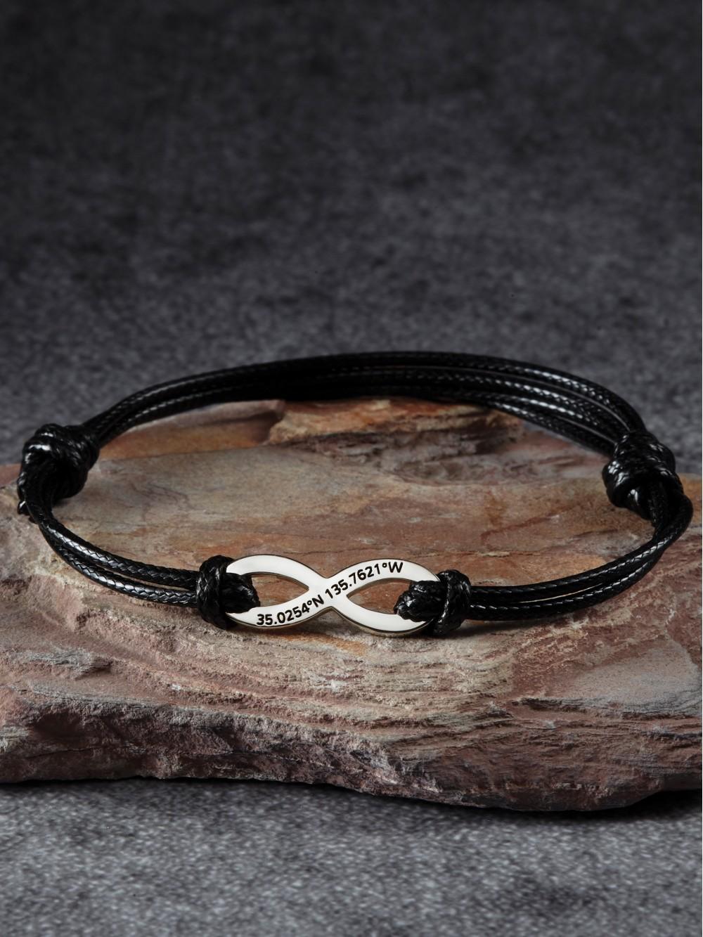 Coordinates Infinity Bracelet for Him