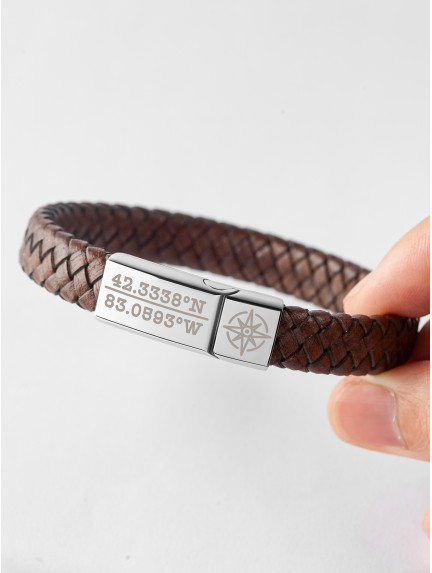 Braided Leather Bracelet With Coordinates