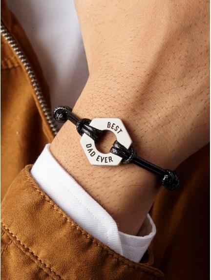 Leather Braided Bracelet for Dad - Hex Nut Bracelet