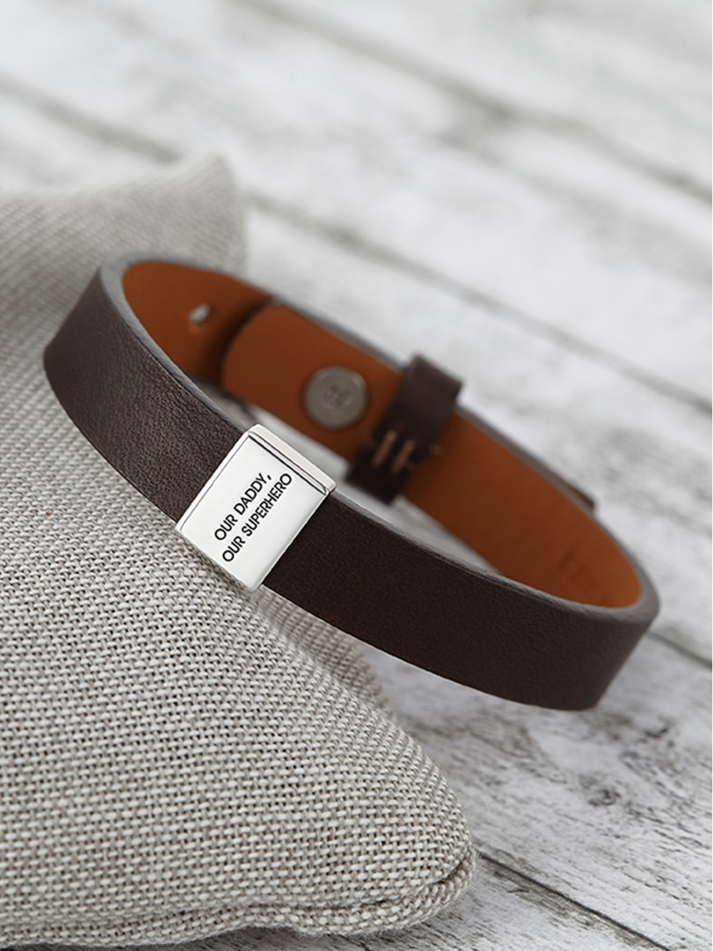 Men's Leather Bracelet - Engraved Dad Bracelet