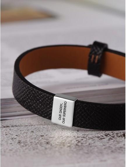 Men S Leather Bracelet Engraved Dad