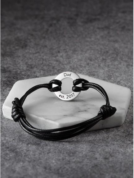 Leather Braided Bracelet For Dad - Dad Est.
