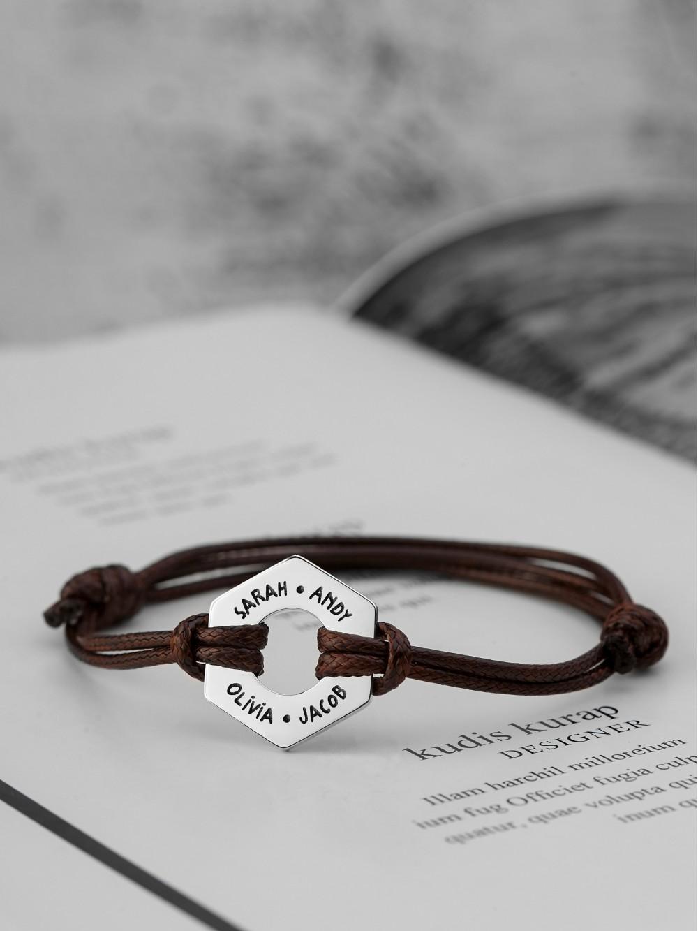 Men's Bracelet With Names - Hex Nut