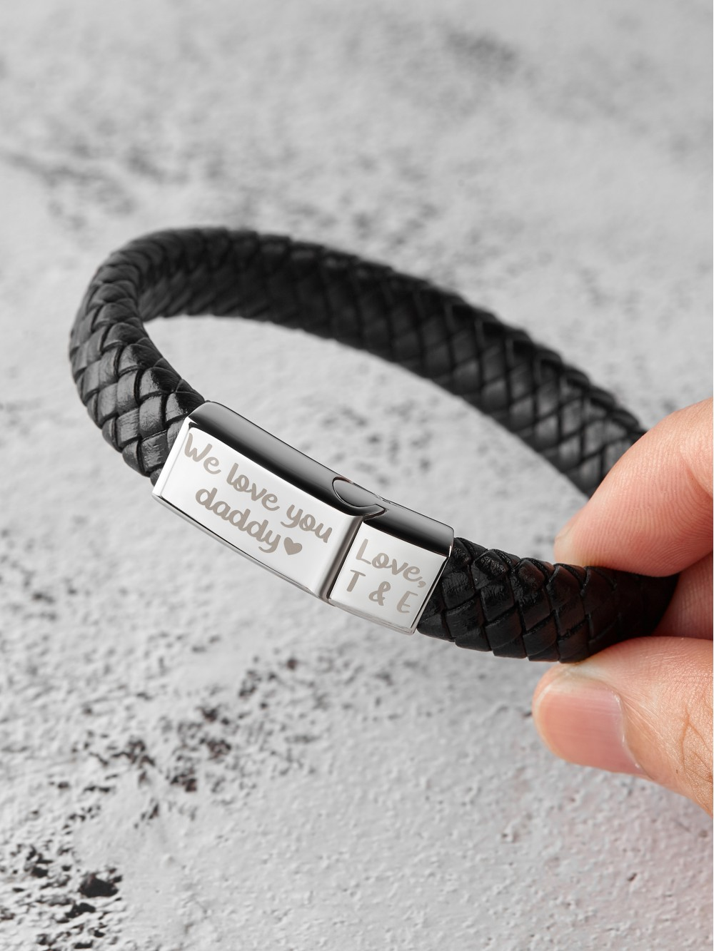 Braided Leather Bracelet With Kids' Names