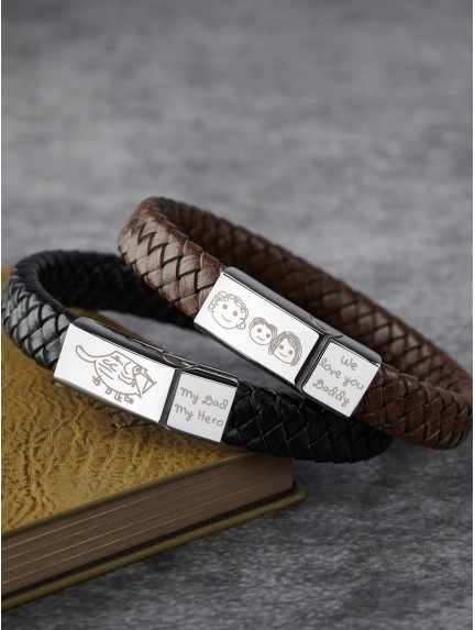 Braided Leather Bracelet With Kid's Drawing