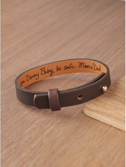Leather Hidden Message Bracelet With Actual Handwriting