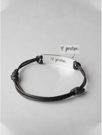 Leather Handwriting Bracelet - Thick Bar