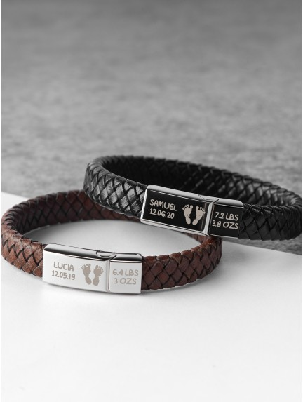 Braided Leather Bracelet With Baby Footprint