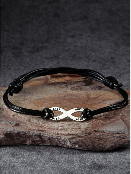 Men's Infinity Bracelet with Multiple Names