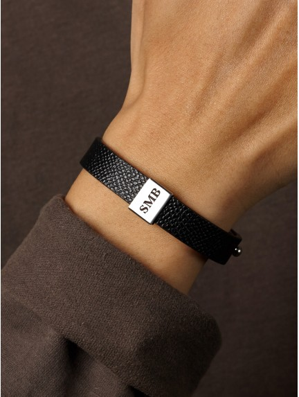 Men's Leather Bracelet with Initials