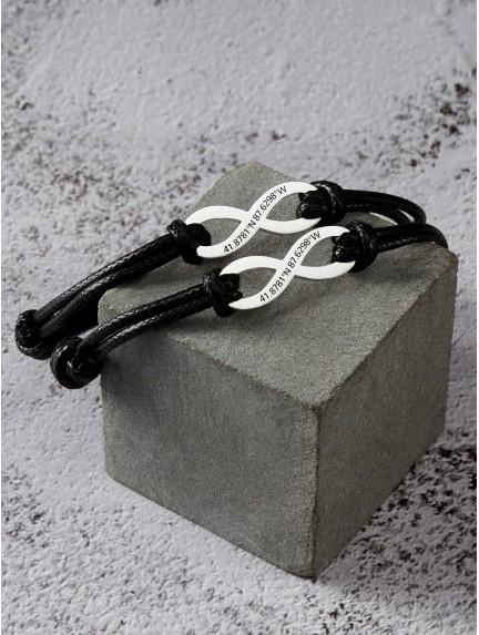 Couple's Infinity Bracelet with Coordinates