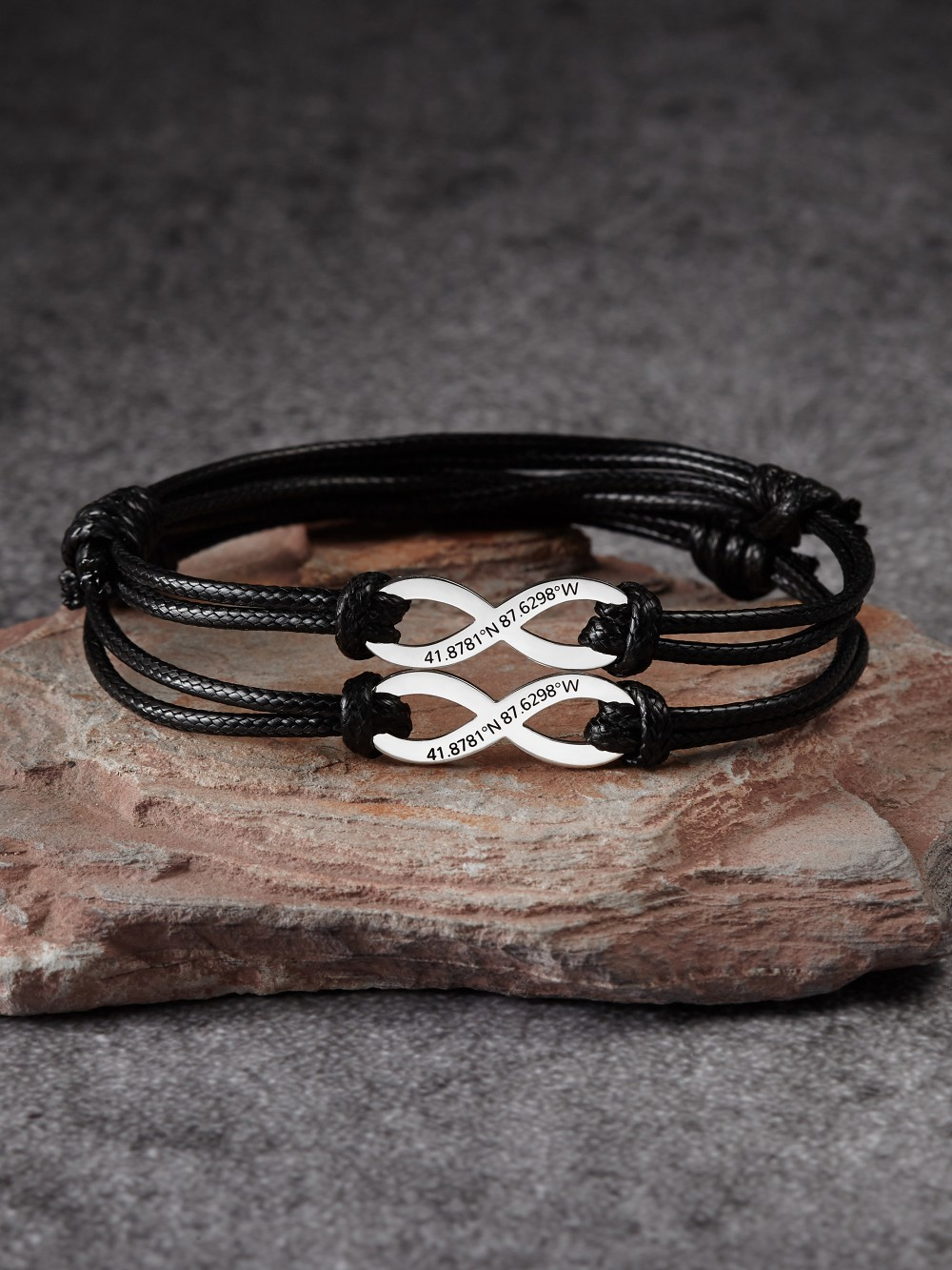 Couple's Infinity Bracelet with Coordinates
