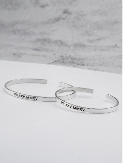 Matching Couple's Bracelets - Roman Numerals Date