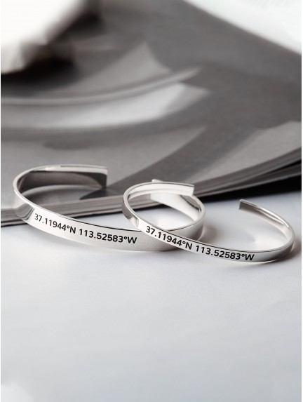 Silver Couple Bracelets with Longitude and Latitude