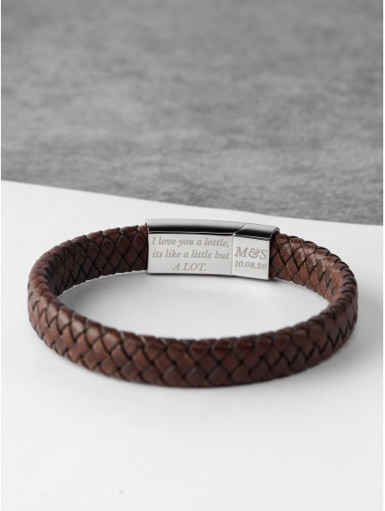 Braided Leather Bracelet With Hidden Message