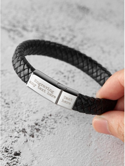 Personalized Braided Leather Bracelet For Men