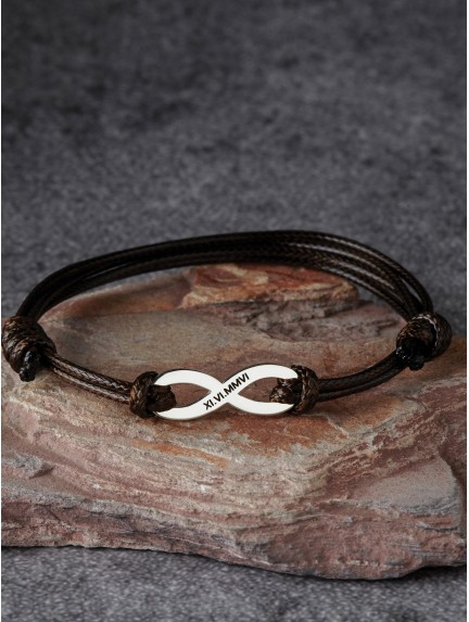 Leather Anniversary Braided Bracelet - Roman Numerals