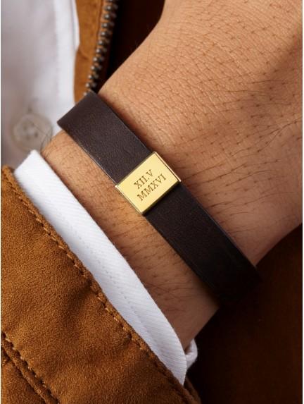 Leather Anniversary Bracelet for Him - Roman Numerals