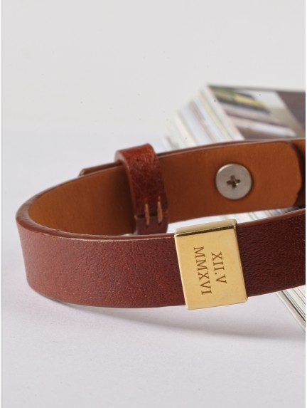 Leather Anniversary Bracelet for Him - Roman Numerals