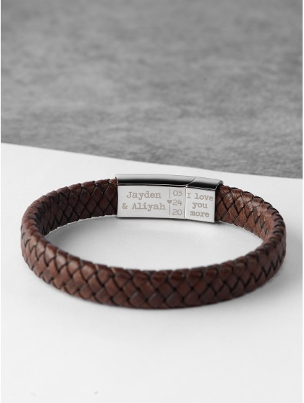 Braided Leather Bracelet With Roman Numerals