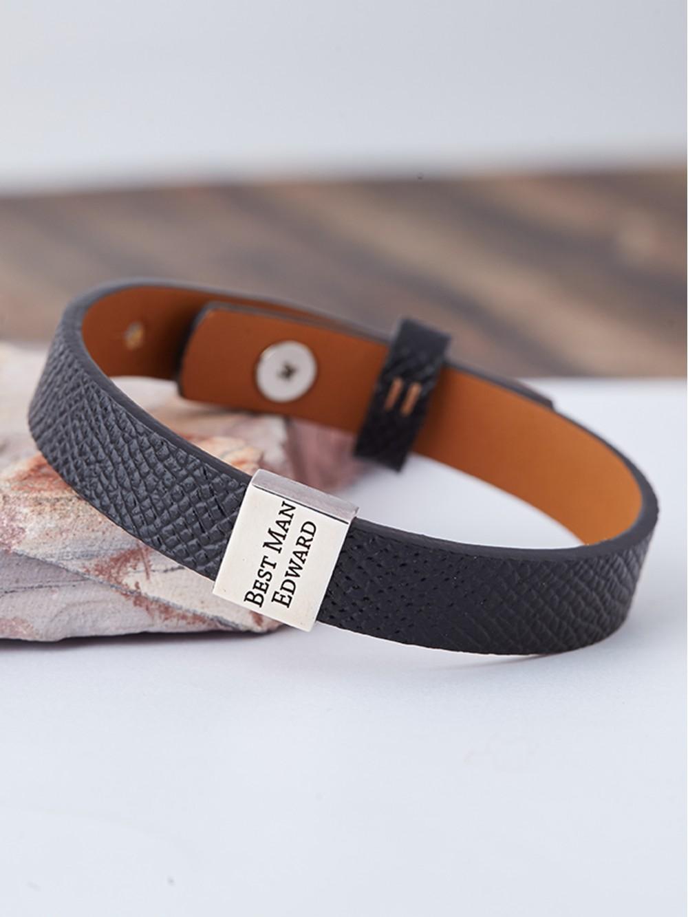 Men's Wedding Gift for Groomsmen - Leather Bracelet