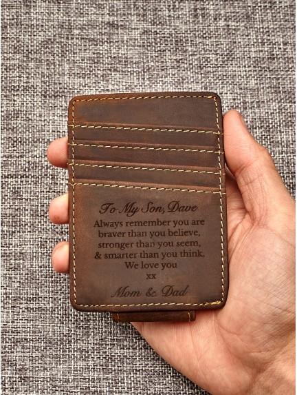 Custom Leather Money Clip For Son