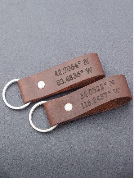 Coordinates Keychain - Leather