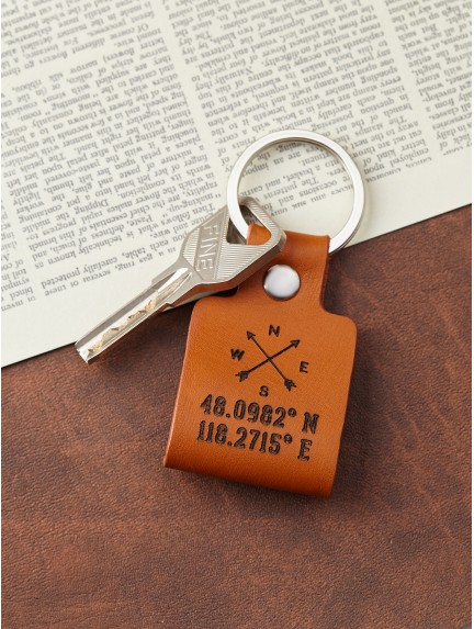 Coordinate Keychain For Men - Compass