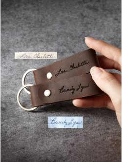 Leather Handwriting Keychain for Men