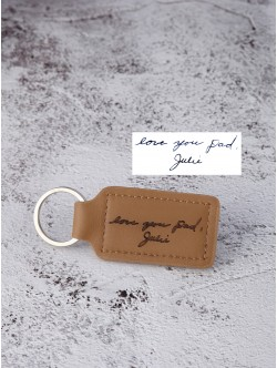 Handwriting Keychain for Guys - Stiched Leather