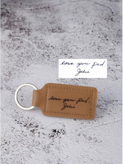 9846af2c5472e Handwriting Keychain for Guys - Stiched Leather