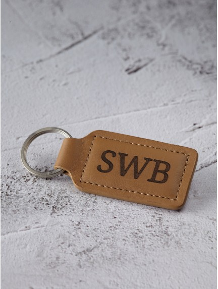 Leather Monogram Keychain for Him