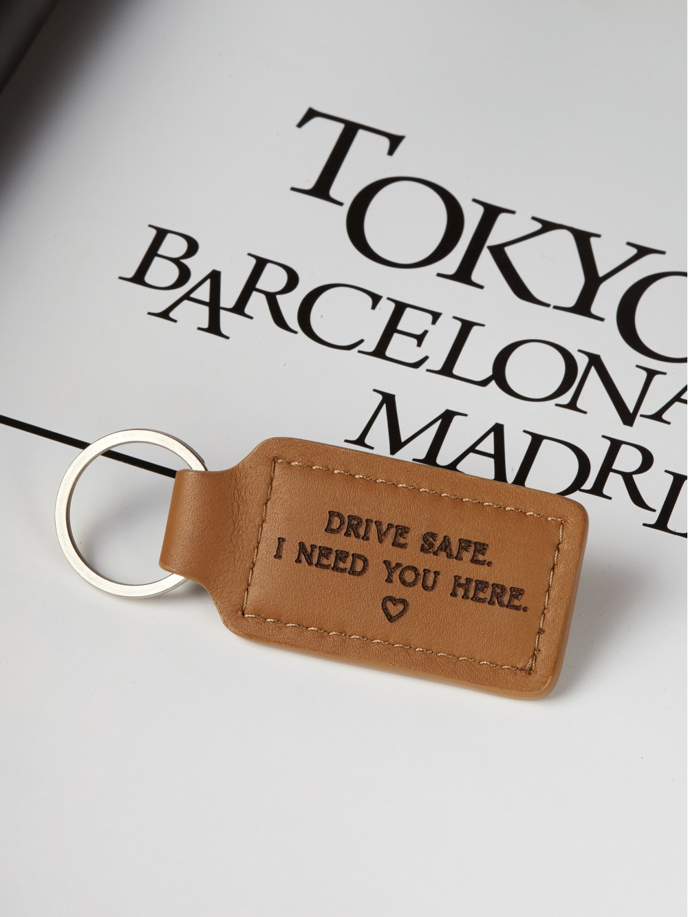 Engraved Keychain for Him - Drive Safe Keychain