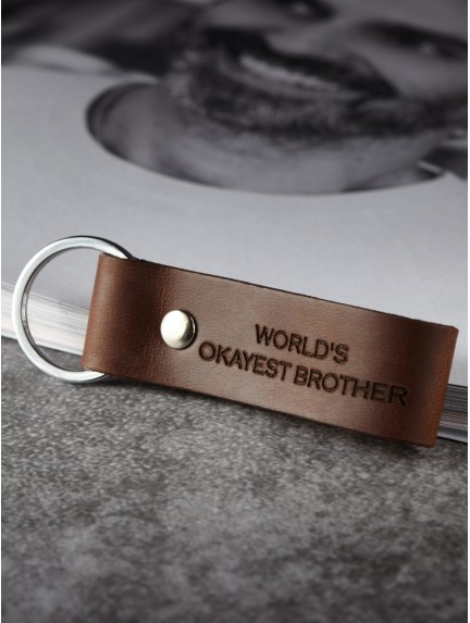 World's Okayest Brother Keychain - Personalize Genuine Leather