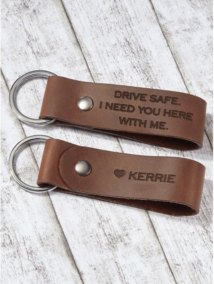 Personalized Keychain for Him - Drive Safe Keychain