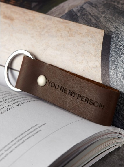 You're My Person Leather Keychain
