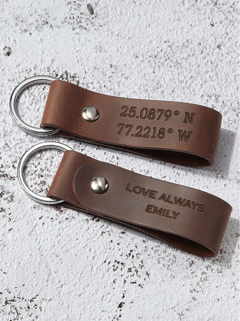 Coordinates Keychain - Leather