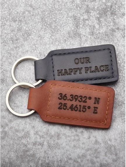 Latitude and Longitude Keychain For Him - Leather