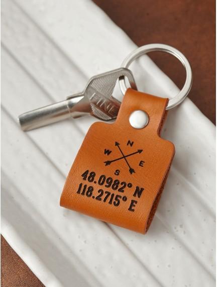 Coordinate Keychain For Men - Compass