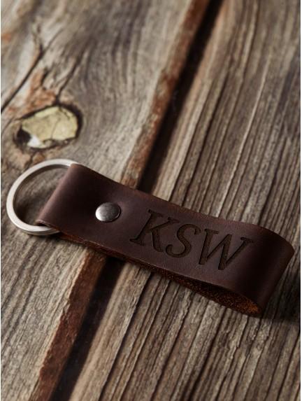 Monogram Leather Keychain