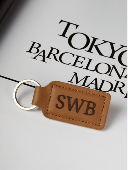 Leather Monogram Keychain for Him