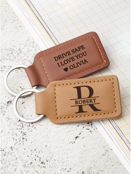 Personalized Leather Keychain With Name And Initial