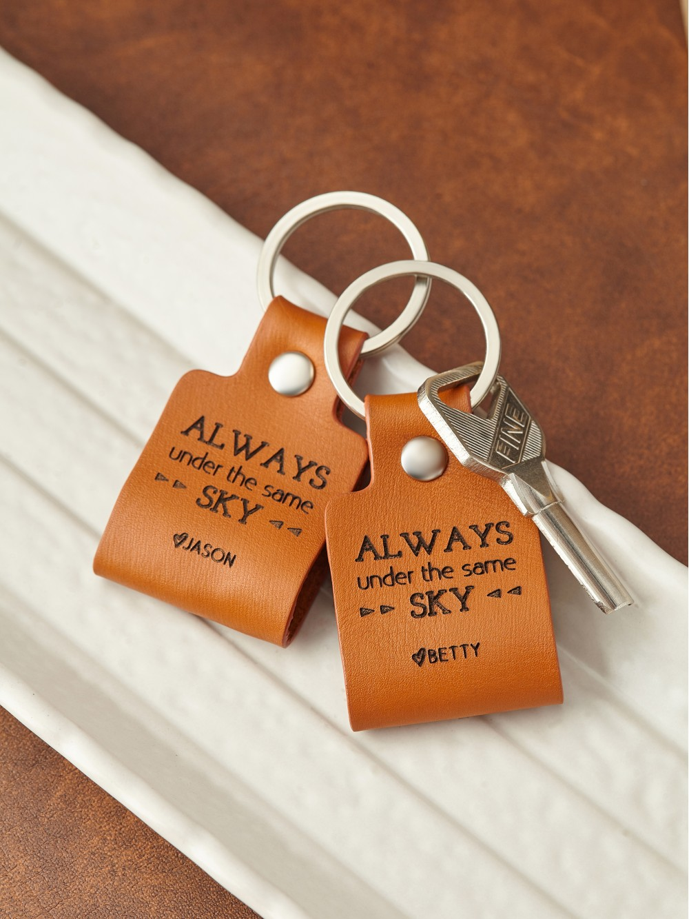 Personalized Long Distance Couple Keychain - Always Under The Same Sky