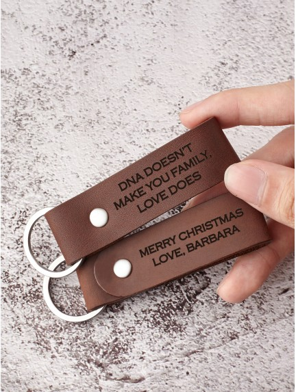 Personalized Leather Keychain For Bonus Son