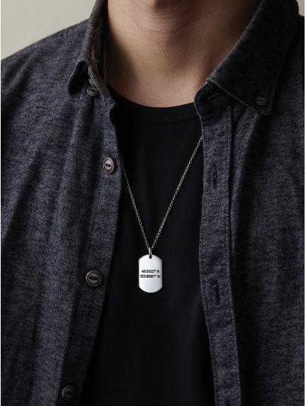 Dog Tag Necklace with Coordinates