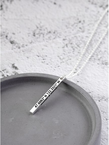 Cubic Coordinate Necklace for Him
