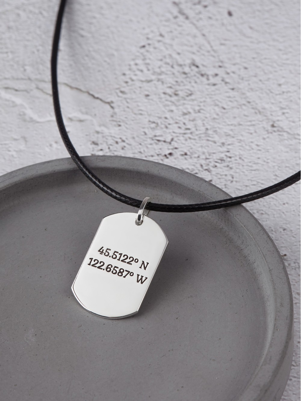 Dog Tag Coordinates Necklace for Men - Leather Cord